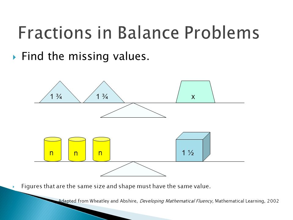 Fractions in Balance Problems  Find the missing values.