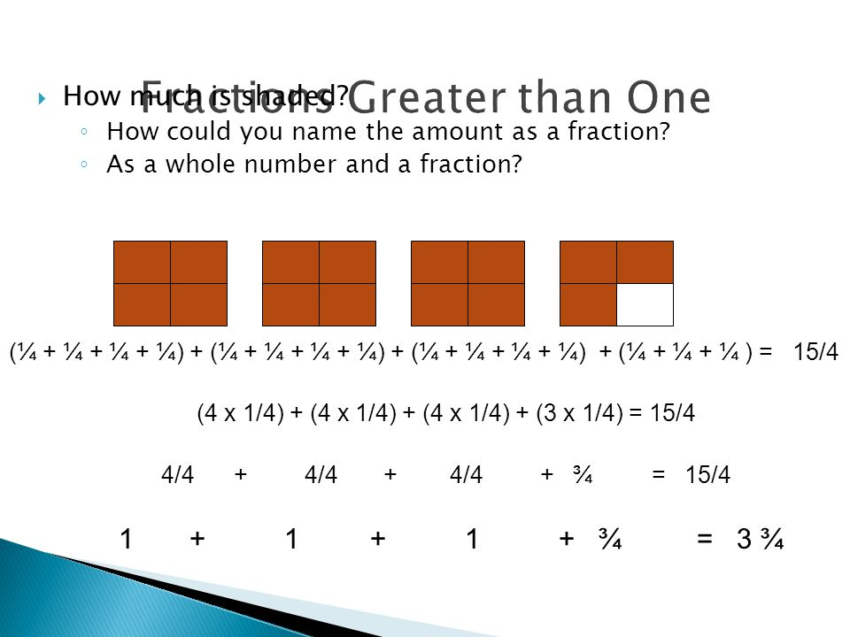 Fractions Greater than One  How much is shaded. ◦ How could you name the amount as a fraction.