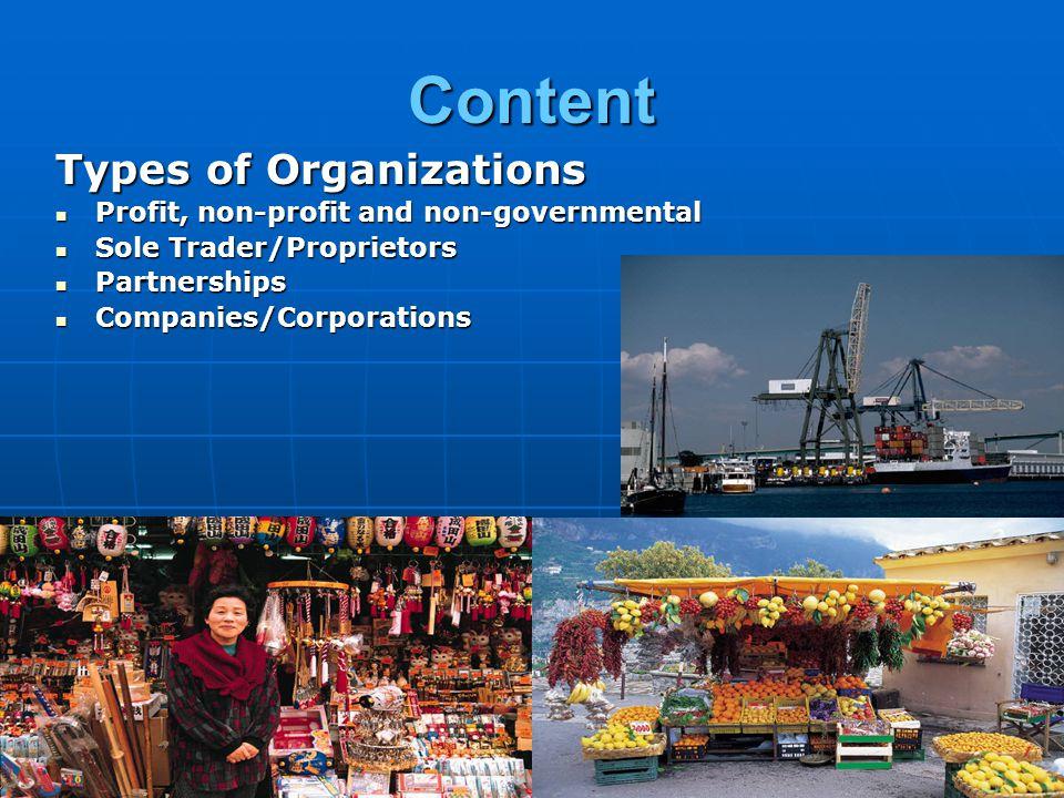 Content Types of Organizations Profit, non-profit and non-governmental Profit, non-profit and non-governmental Sole Trader/Proprietors Sole Trader/Pro