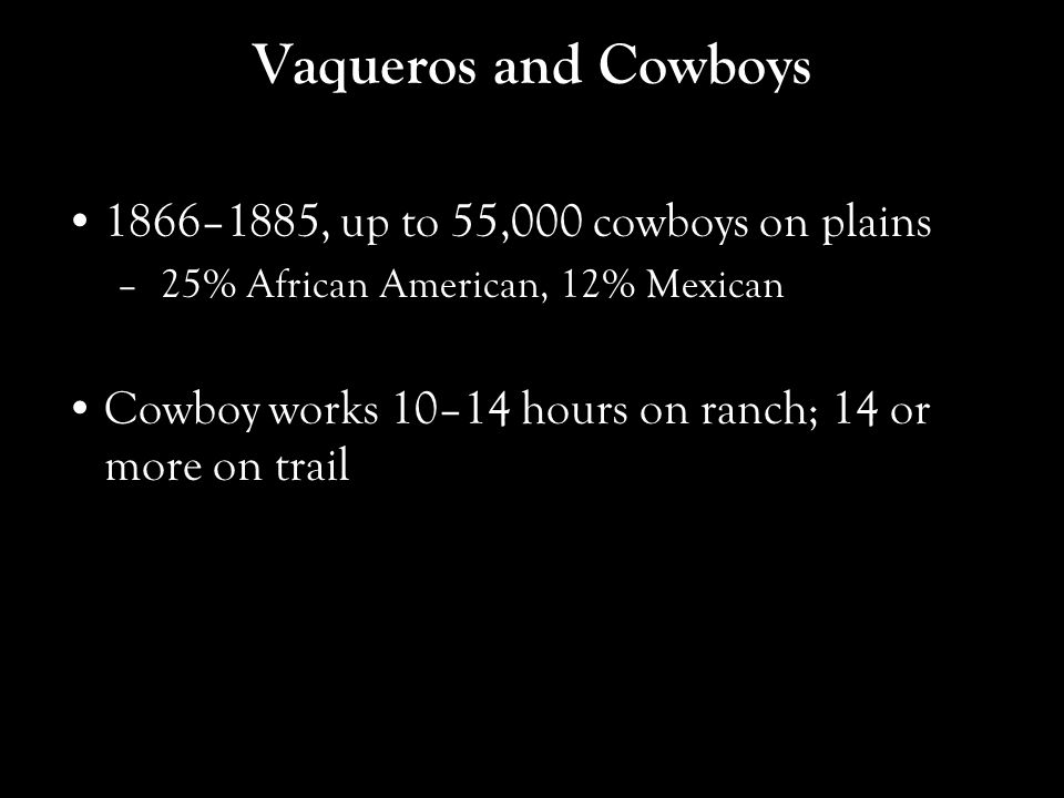Vaqueros and Cowboys 1866–1885, up to 55,000 cowboys on plains – 25% African American, 12% Mexican Cowboy works 10–14 hours on ranch; 14 or more on trail