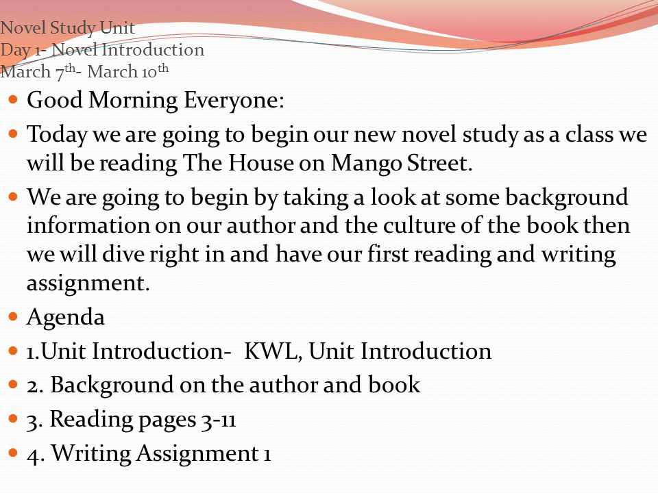Novel Study Unit Day 1- Novel Introduction March 7 th - March 10 th Good Morning Everyone: Today we are going to begin our new novel study as a class we will be reading The House on Mango Street.
