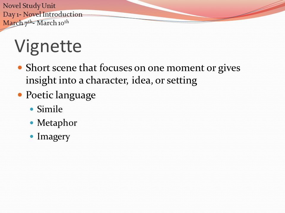 Vignette Short scene that focuses on one moment or gives insight into a character, idea, or setting Poetic language Simile Metaphor Imagery Novel Study Unit Day 1- Novel Introduction March 7 th - March 10 th