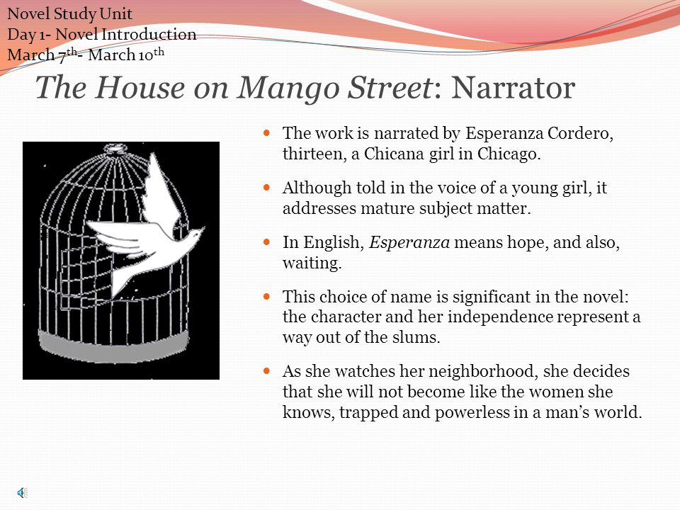 The House on Mango Street: Narrator The work is narrated by Esperanza Cordero, thirteen, a Chicana girl in Chicago.