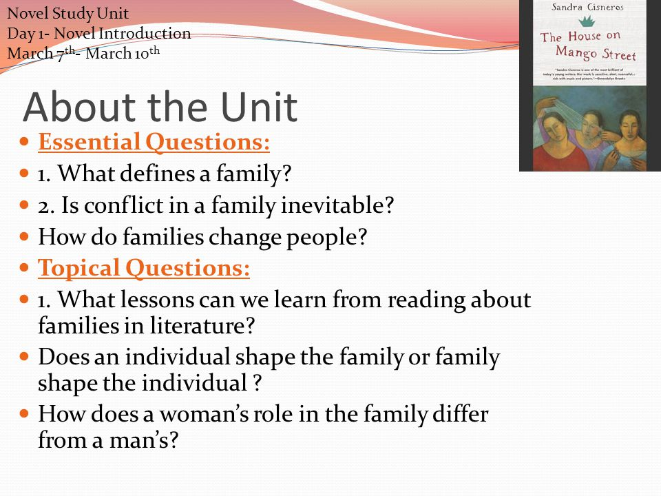 Novel Study Unit Day 3- Study Guide Questions- Answer Key March 11 th 4.