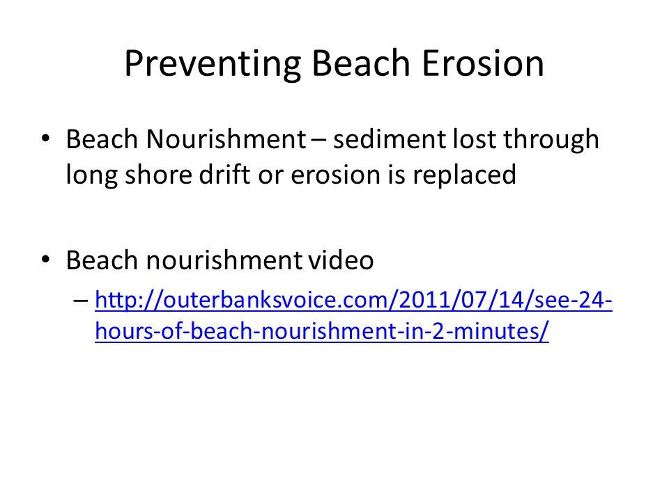 Beach Nourishment – sediment lost through long shore drift or erosion is replaced Beach nourishment video – http://outerbanksvoice.com/2011/07/14/see-