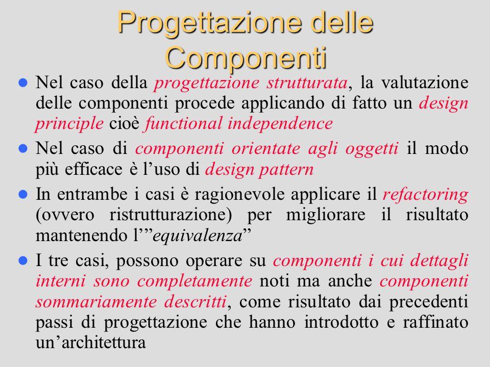 Progettazione delle Componenti Nel caso della progettazione strutturata, la valutazione delle componenti procede applicando di fatto un design princip