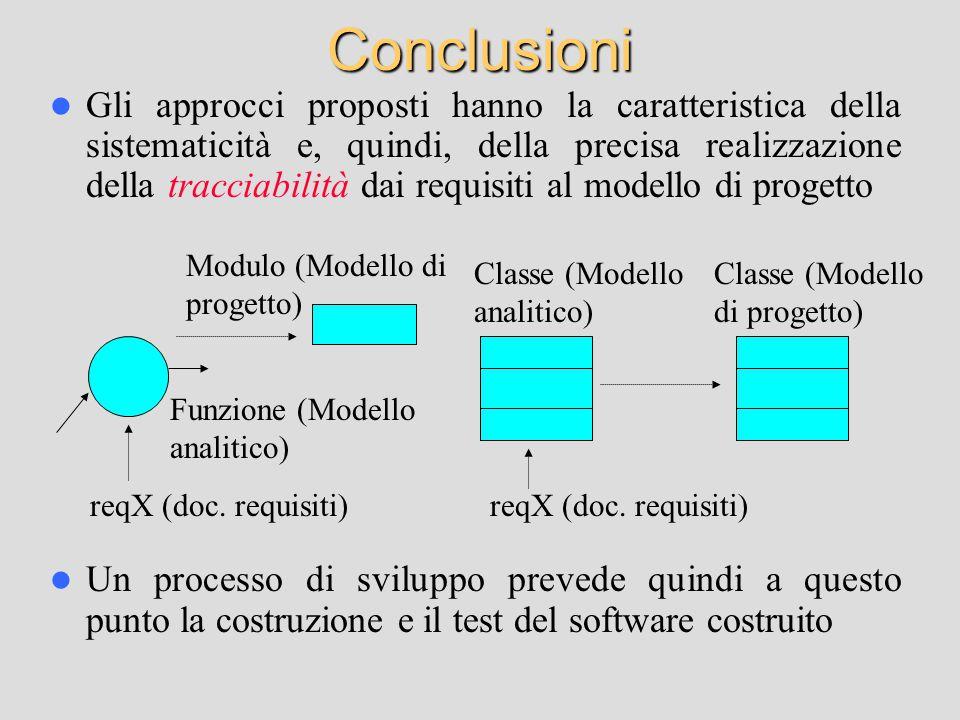 Conclusioni Gli approcci proposti hanno la caratteristica della sistematicità e, quindi, della precisa realizzazione della tracciabilità dai requisiti al modello di progetto Un processo di sviluppo prevede quindi a questo punto la costruzione e il test del software costruito reqX (doc.