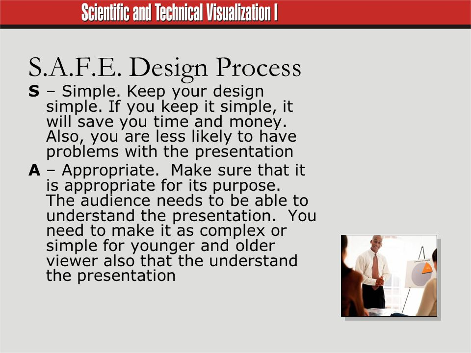 S.A.F.E. Design Process S– Simple. Keep your design simple.