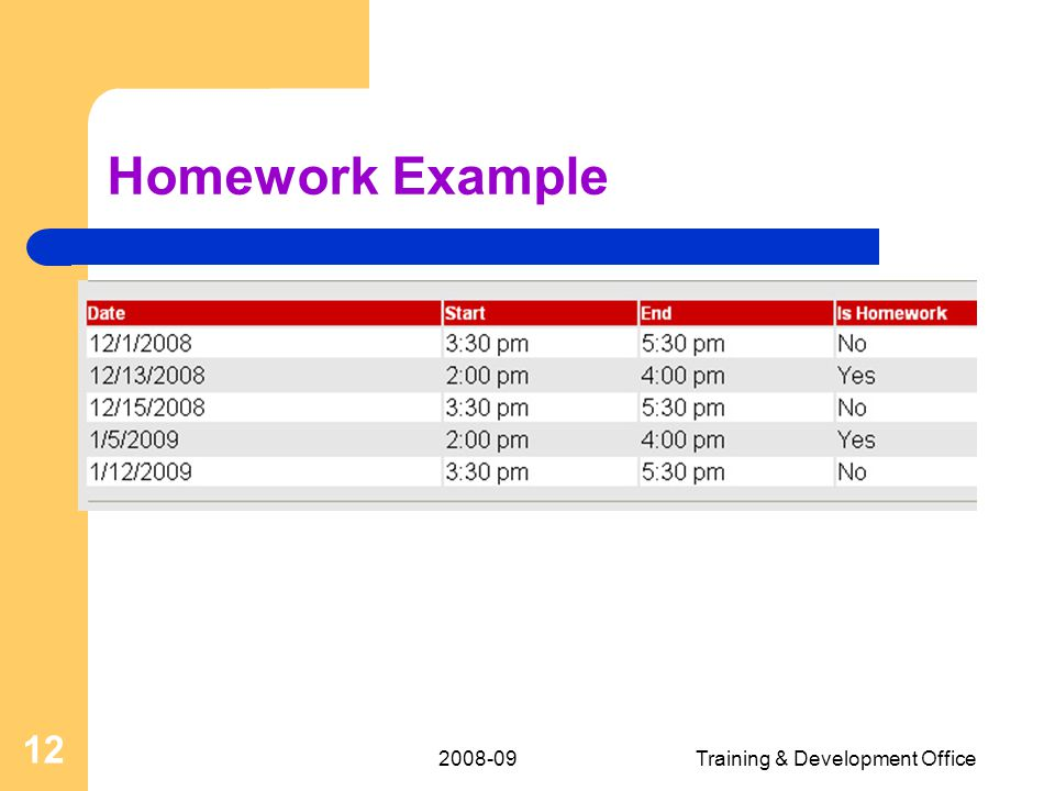 2008-09Training & Development Office 12 Homework Example