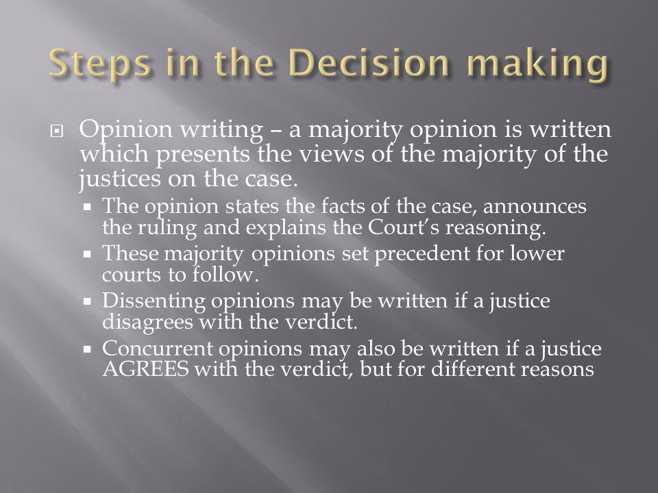  Opinion writing – a majority opinion is written which presents the views of the majority of the justices on the case.  The opinion states the facts