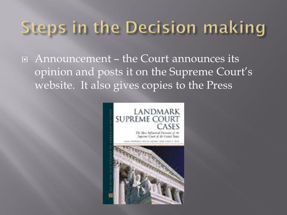  Announcement – the Court announces its opinion and posts it on the Supreme Court's website. It also gives copies to the Press