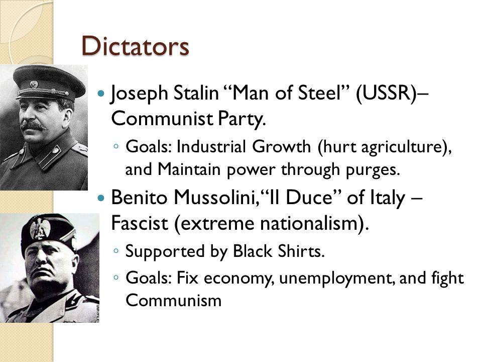 Dictators Joseph Stalin Man of Steel (USSR)– Communist Party.
