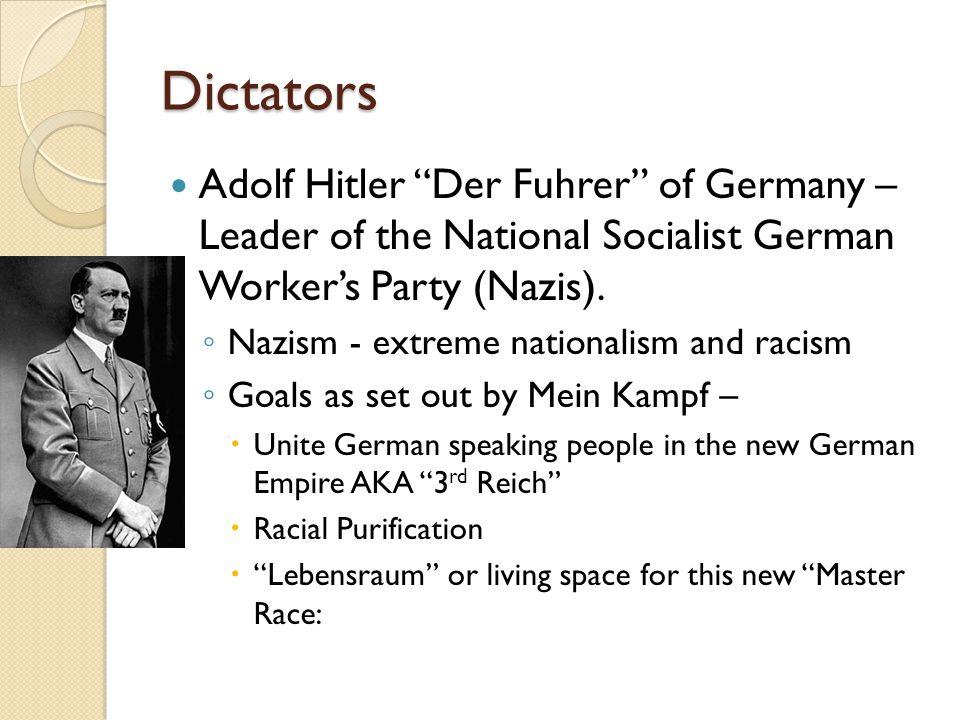Dictators Adolf Hitler Der Fuhrer of Germany – Leader of the National Socialist German Worker's Party (Nazis).