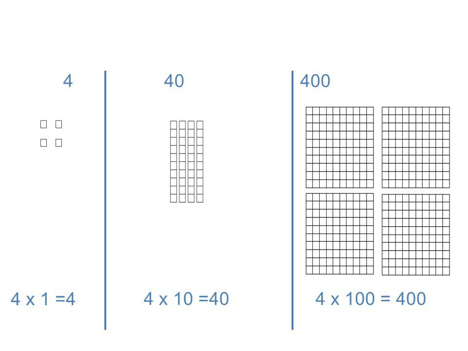 4 x 100 = 4004 x 10 =40 4 40 400 4 x 1 =4