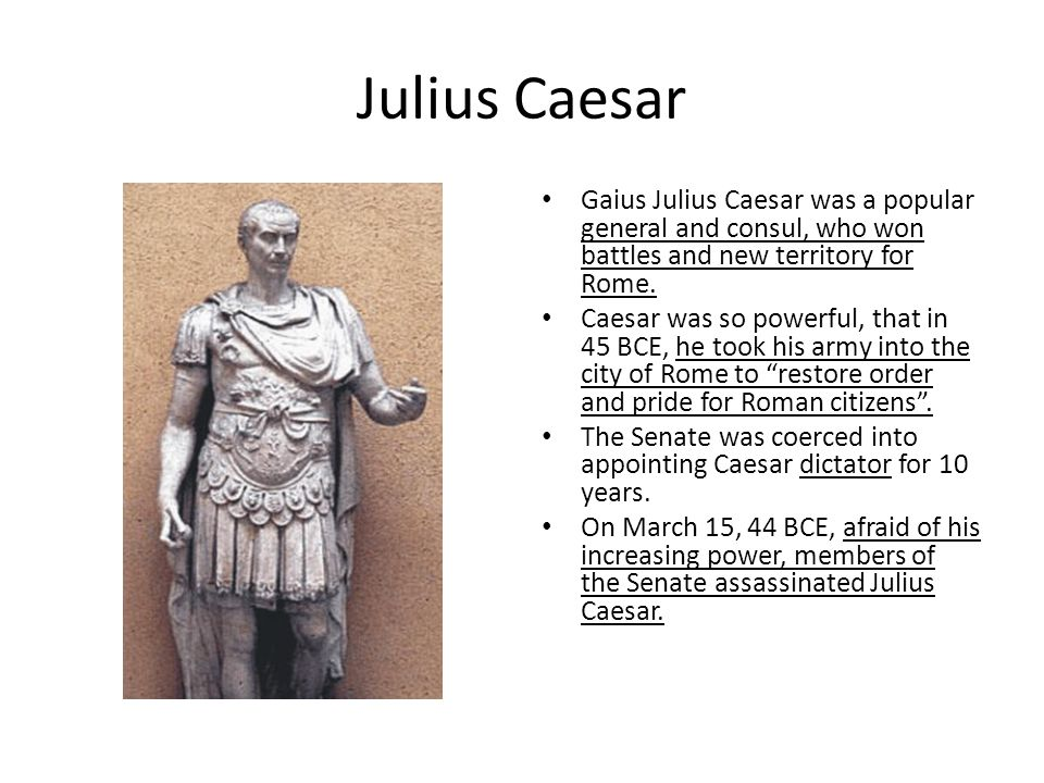 Civil War Breaks Out Power was left to Octavian, Caesar's nephew – Marc Antony, Caesar's friend contested this decision.