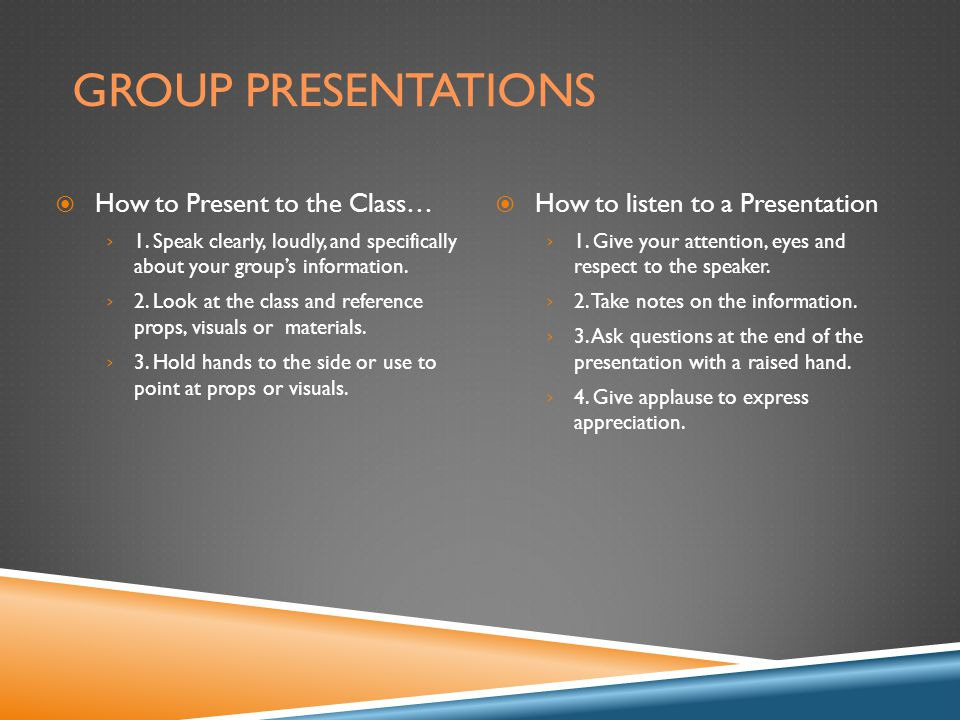 GROUP PRESENTATIONS  How to Present to the Class… › 1.