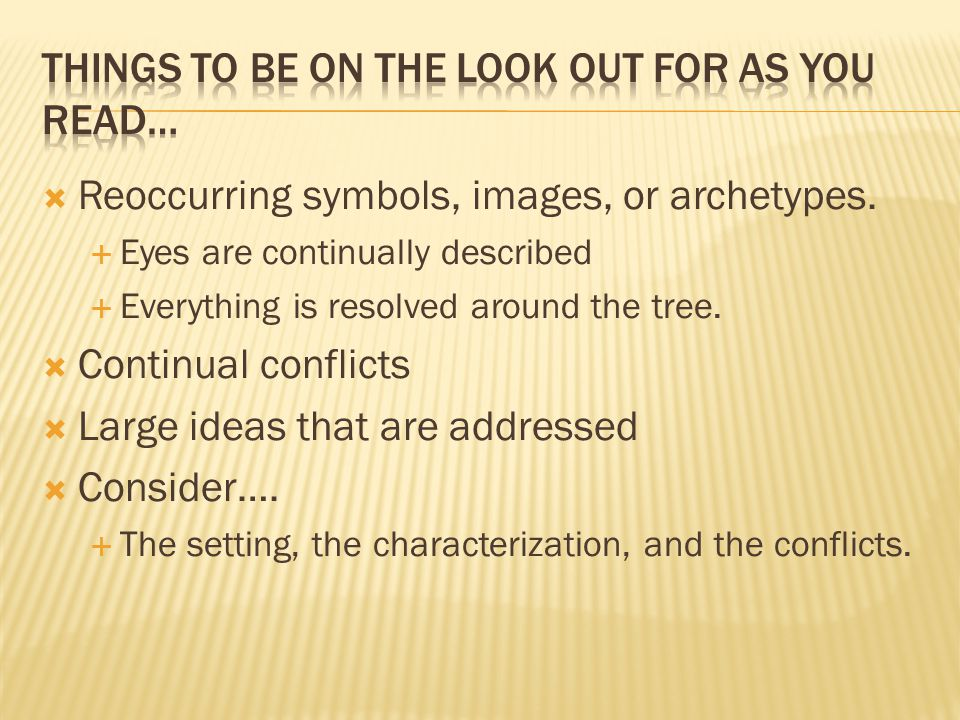  Reoccurring symbols, images, or archetypes.