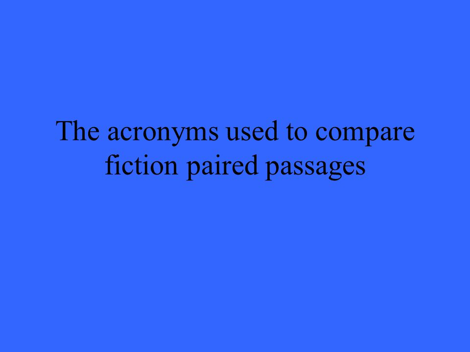 The acronyms used to compare fiction paired passages