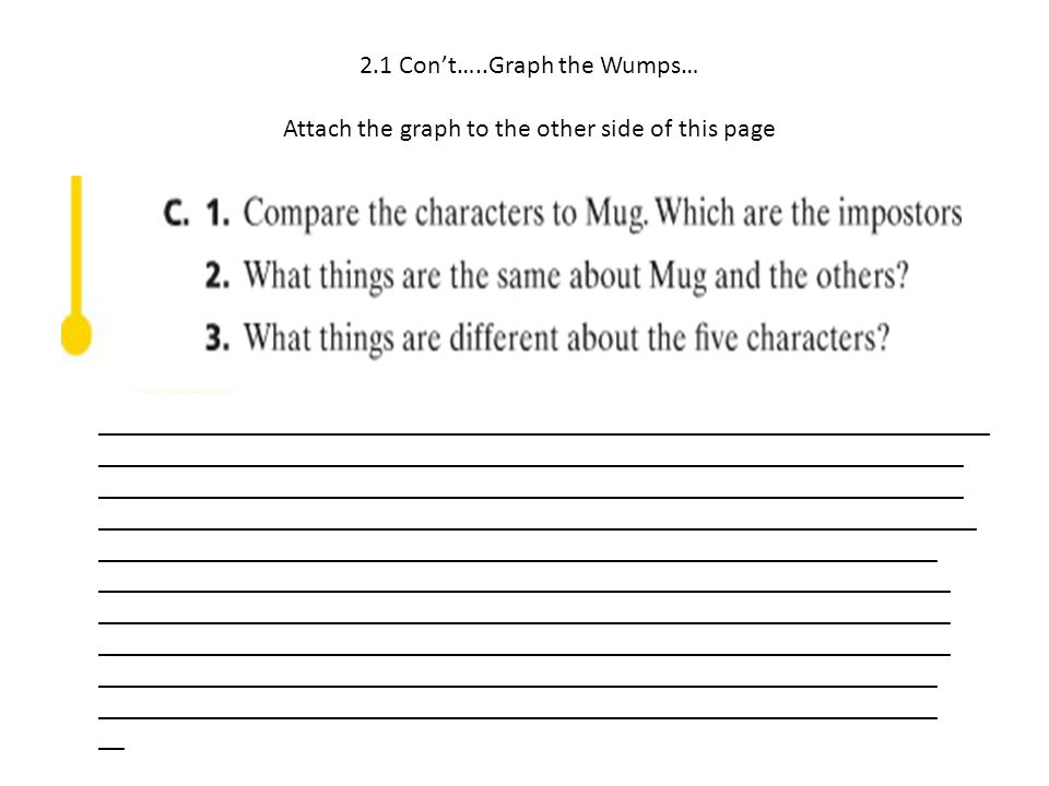 2.1 Con't…..Graph the Wumps… Attach the graph to the other side of this page ____________________________________________________________________ ____