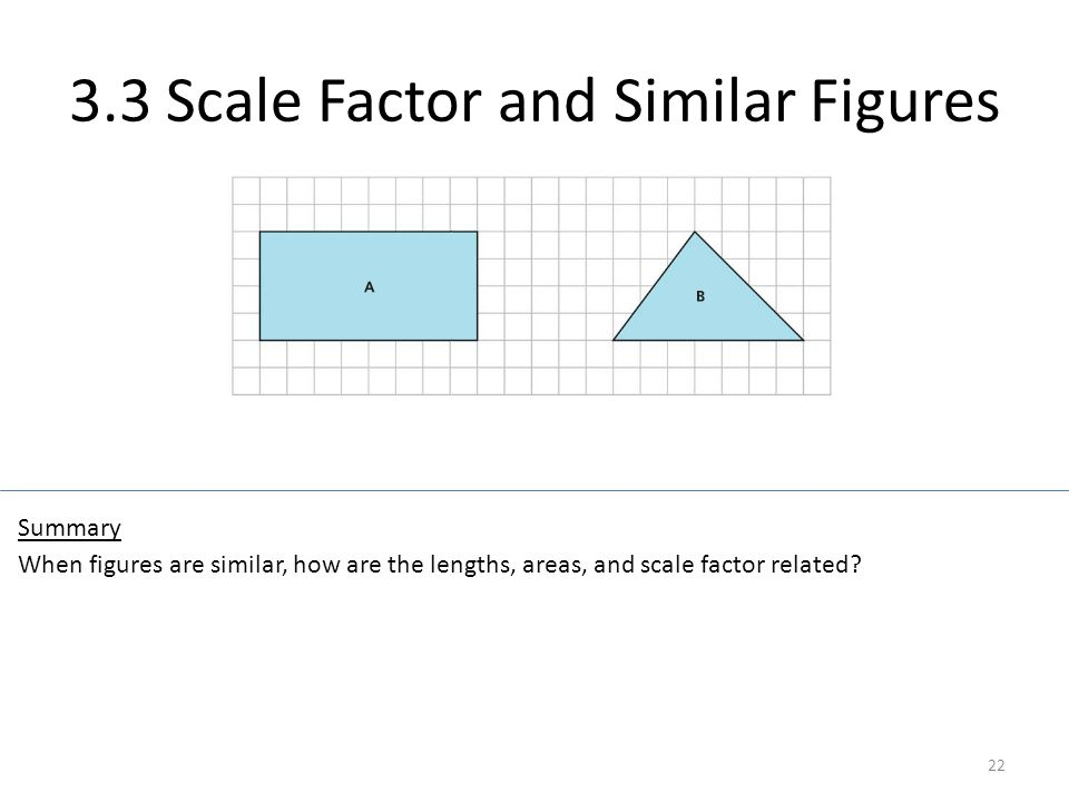 3.3 Scale Factor and Similar Figures 22 When figures are similar, how are the lengths, areas, and scale factor related? Summary