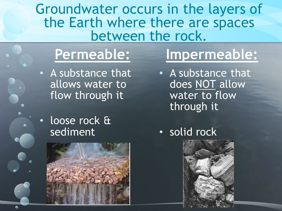 Groundwater occurs in the layers of the Earth where there are spaces between the rock.