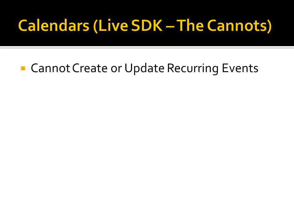  Cannot Create or Update Recurring Events