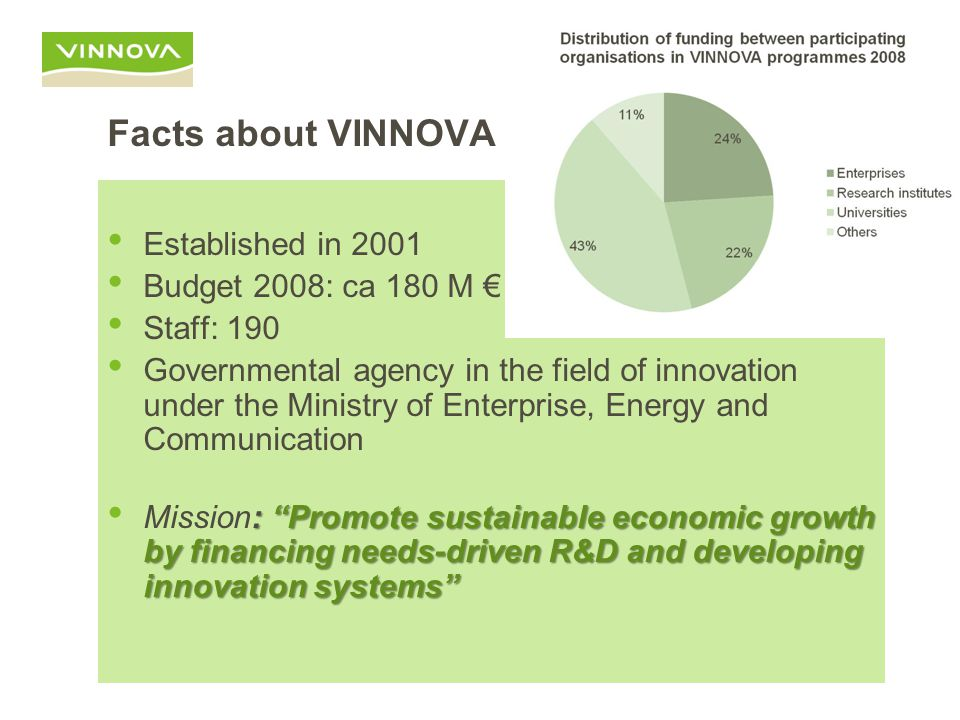 Facts about VINNOVA Established in 2001 Budget 2008: ca 180 M € Staff: 190 Governmental agency in the field of innovation under the Ministry of Enterprise, Energy and Communication : Promote sustainable economic growth by financing needs-driven R&D and developing innovation systems Mission: Promote sustainable economic growth by financing needs-driven R&D and developing innovation systems