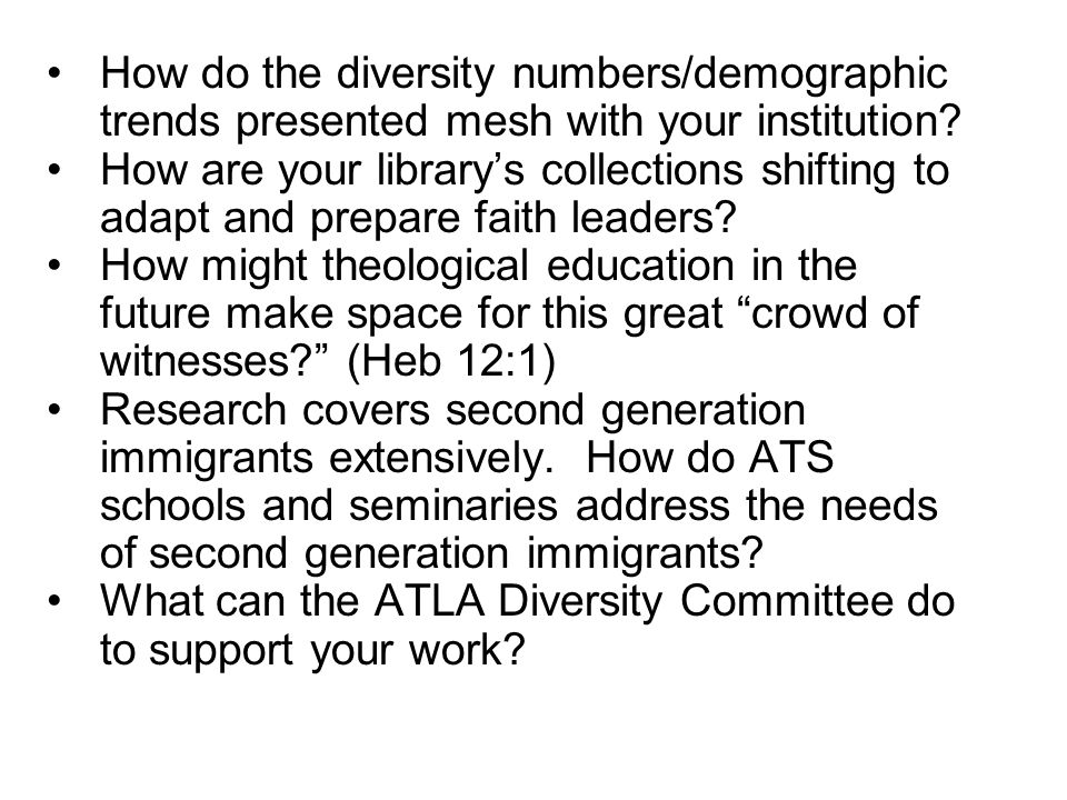 How do the diversity numbers/demographic trends presented mesh with your institution.