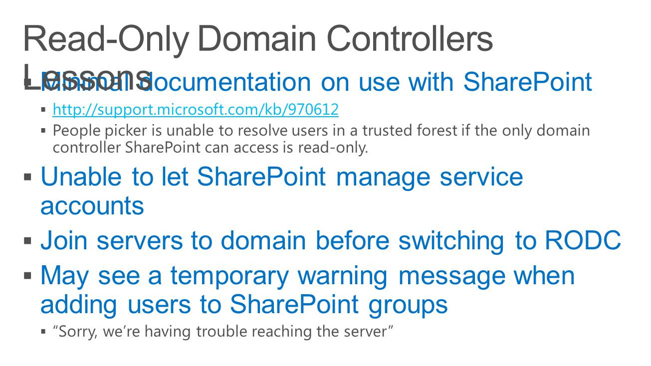 Read-Only Domain Controllers Lessons