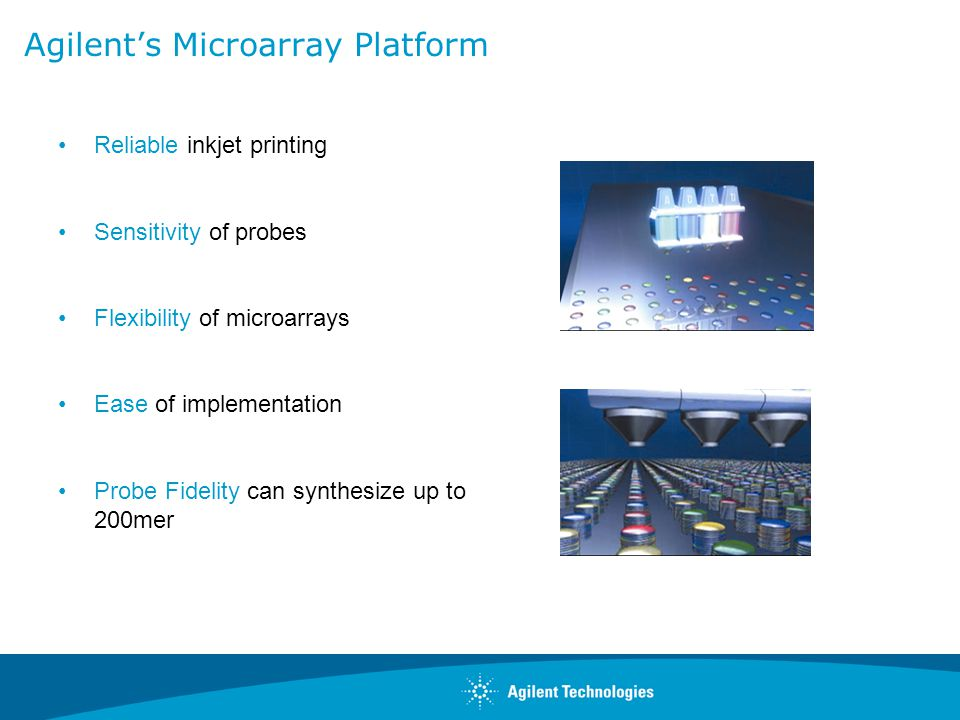 Agilent's Microarray Platform Reliable inkjet printing Sensitivity of probes Flexibility of microarrays Ease of implementation Probe Fidelity can synt