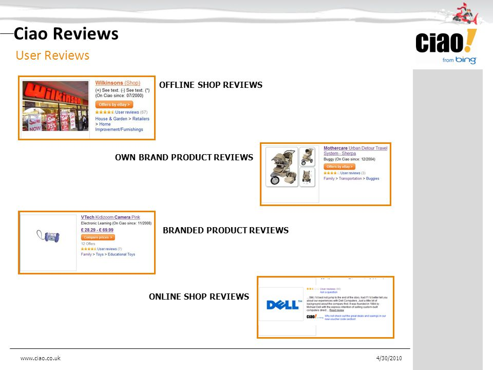 Ciao Reviews User Reviews 4/30/2010 OFFLINE SHOP REVIEWS OWN BRAND PRODUCT REVIEWS BRANDED PRODUCT REVIEWS ONLINE SHOP REVIEWS www.ciao.co.uk