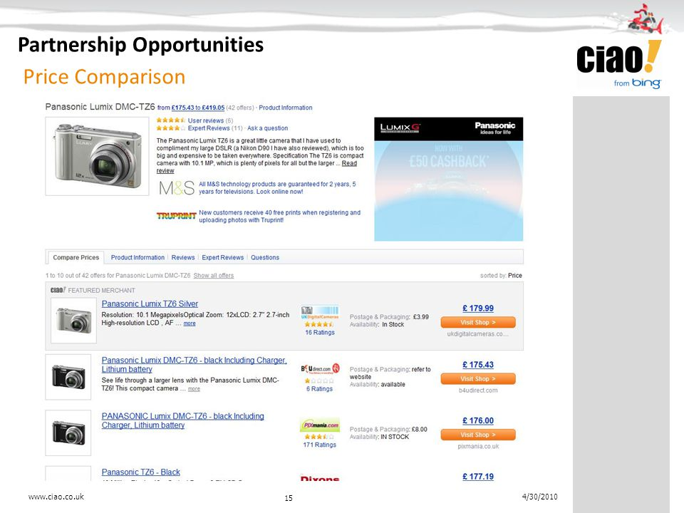 Price Comparison 15 4/30/2010 Partnership Opportunities www.ciao.co.uk