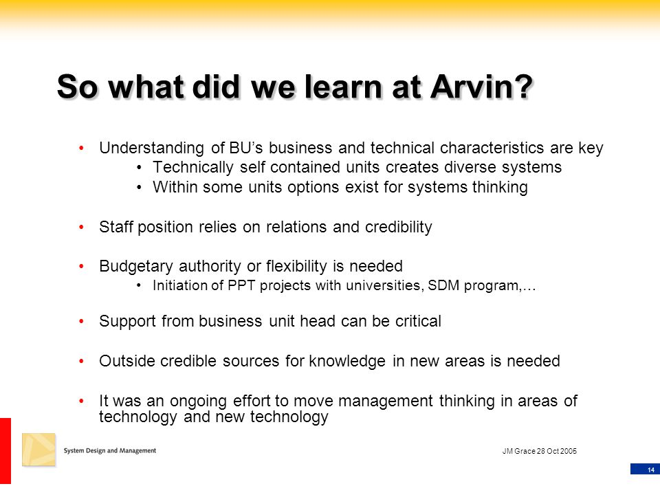 14 JM Grace 28 Oct 2005 So what did we learn at Arvin? Understanding of BU's business and technical characteristics are key Technically self contained