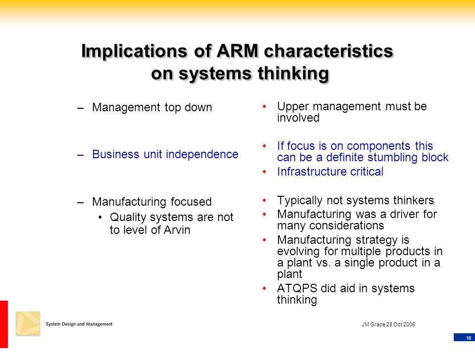 18 JM Grace 28 Oct 2005 Implications of ARM characteristics on systems thinking –Management top down –Business unit independence –Manufacturing focused Quality systems are not to level of Arvin Upper management must be involved If focus is on components this can be a definite stumbling block Infrastructure critical Typically not systems thinkers Manufacturing was a driver for many considerations Manufacturing strategy is evolving for multiple products in a plant vs.
