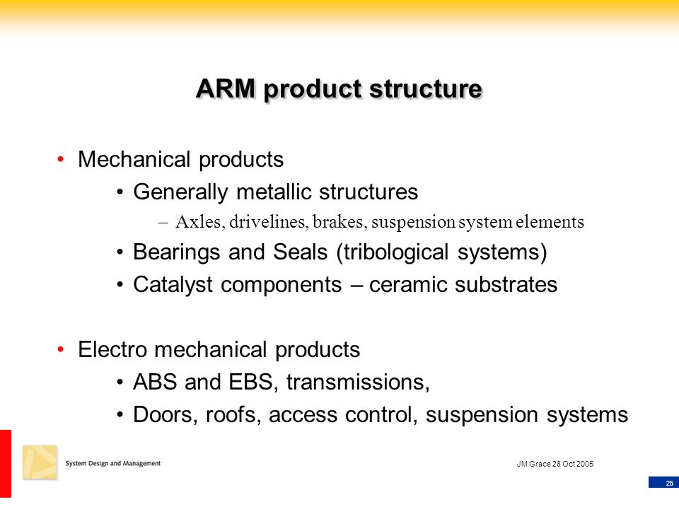 25 JM Grace 28 Oct 2005 ARM product structure Mechanical products Generally metallic structures –Axles, drivelines, brakes, suspension system elements Bearings and Seals (tribological systems) Catalyst components – ceramic substrates Electro mechanical products ABS and EBS, transmissions, Doors, roofs, access control, suspension systems