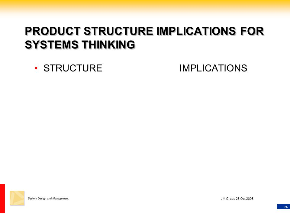 26 JM Grace 28 Oct 2005 PRODUCT STRUCTURE IMPLICATIONS FOR SYSTEMS THINKING STRUCTUREIMPLICATIONS