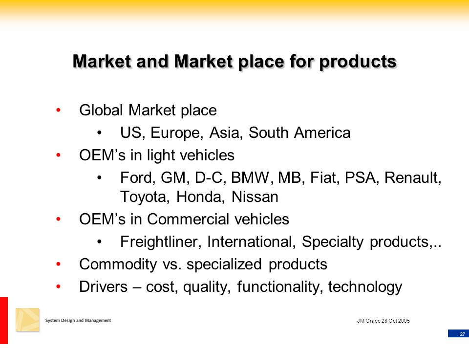 27 JM Grace 28 Oct 2005 Market and Market place for products Global Market place US, Europe, Asia, South America OEM's in light vehicles Ford, GM, D-C, BMW, MB, Fiat, PSA, Renault, Toyota, Honda, Nissan OEM's in Commercial vehicles Freightliner, International, Specialty products,..
