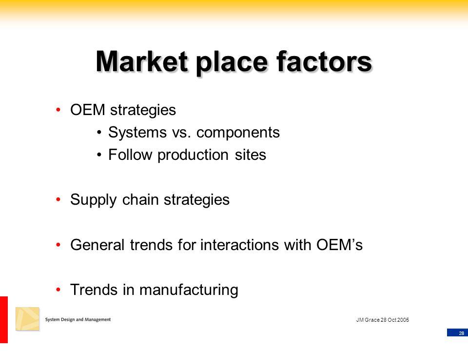 28 JM Grace 28 Oct 2005 Market place factors OEM strategies Systems vs.