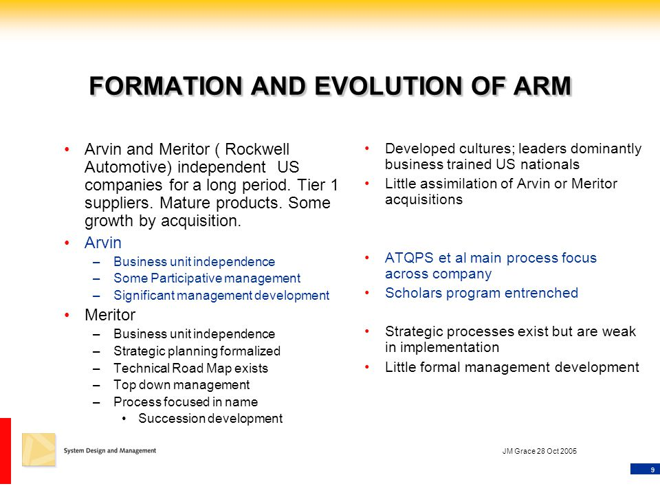 9 JM Grace 28 Oct 2005 FORMATION AND EVOLUTION OF ARM Arvin and Meritor ( Rockwell Automotive) independent US companies for a long period.