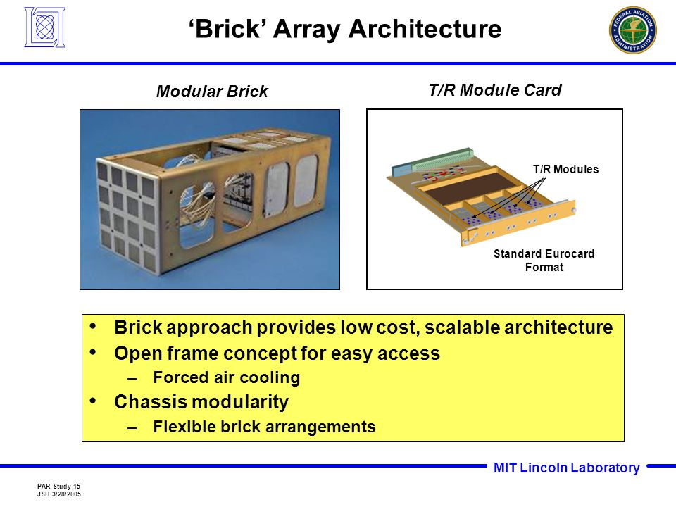 MIT Lincoln Laboratory PAR Study-15 JSH 3/28/2005 Modular Brick 'Brick' Array Architecture Brick approach provides low cost, scalable architecture Open frame concept for easy access –Forced air cooling Chassis modularity –Flexible brick arrangements Standard Eurocard Format T/R Modules T/R Module Card