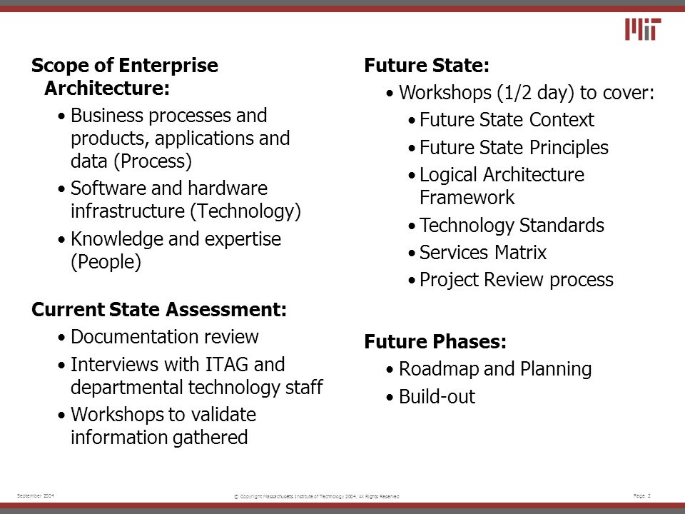 Page 2September 2004 © Copyright Massachusetts Institute of Technology 2004, All Rights Reserved Scope of Enterprise Architecture: Business processes and products, applications and data (Process) Software and hardware infrastructure (Technology) Knowledge and expertise (People) Current State Assessment: Documentation review Interviews with ITAG and departmental technology staff Workshops to validate information gathered Future State: Workshops (1/2 day) to cover: Future State Context Future State Principles Logical Architecture Framework Technology Standards Services Matrix Project Review process Future Phases: Roadmap and Planning Build-out