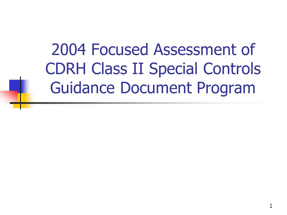1 2004 Focused Assessment of CDRH Class II Special Controls Guidance Document Program