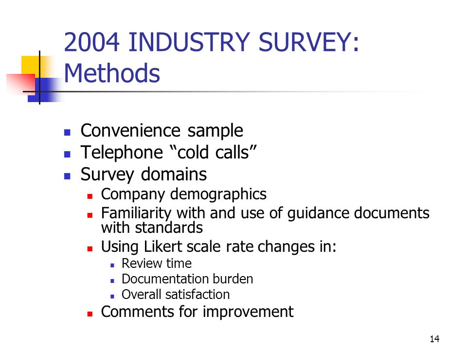 "14 2004 INDUSTRY SURVEY: Methods Convenience sample Telephone ""cold calls"" Survey domains Company demographics Familiarity with and use of guidance do"