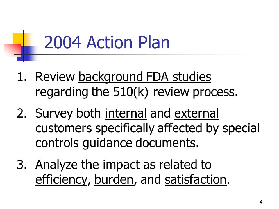 4 2004 Action Plan 1.Review background FDA studies regarding the 510(k) review process. 2.Survey both internal and external customers specifically aff