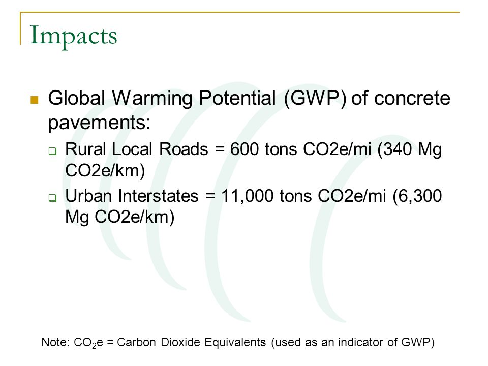 Impacts Global Warming Potential (GWP) of concrete pavements:  Rural Local Roads = 600 tons CO2e/mi (340 Mg CO2e/km)  Urban Interstates = 11,000 tons CO2e/mi (6,300 Mg CO2e/km) Note: CO 2 e = Carbon Dioxide Equivalents (used as an indicator of GWP)