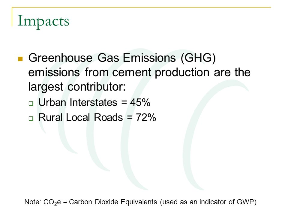 Impacts Greenhouse Gas Emissions (GHG) emissions from cement production are the largest contributor:  Urban Interstates = 45%  Rural Local Roads = 72% Note: CO 2 e = Carbon Dioxide Equivalents (used as an indicator of GWP)