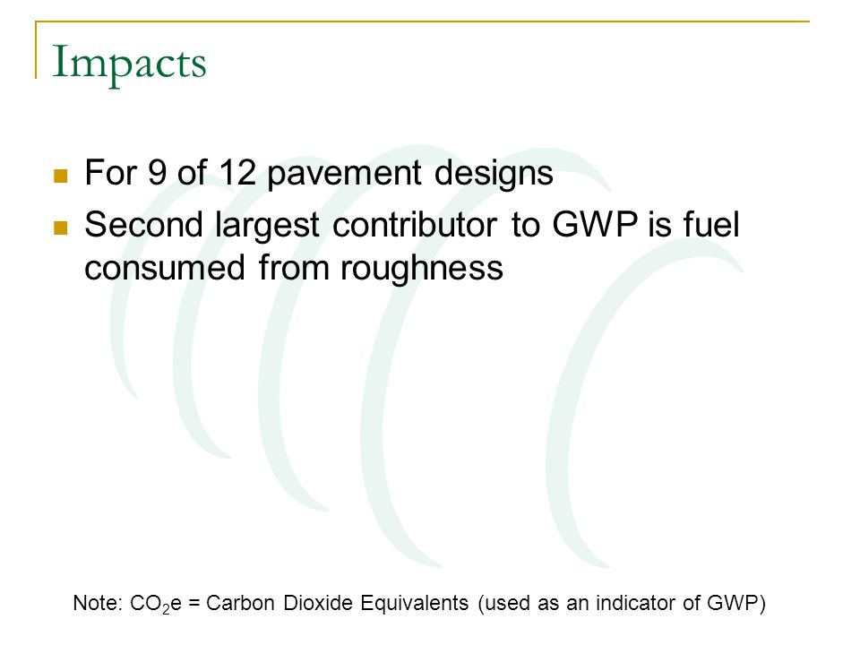 Impacts For 9 of 12 pavement designs Second largest contributor to GWP is fuel consumed from roughness Note: CO 2 e = Carbon Dioxide Equivalents (used