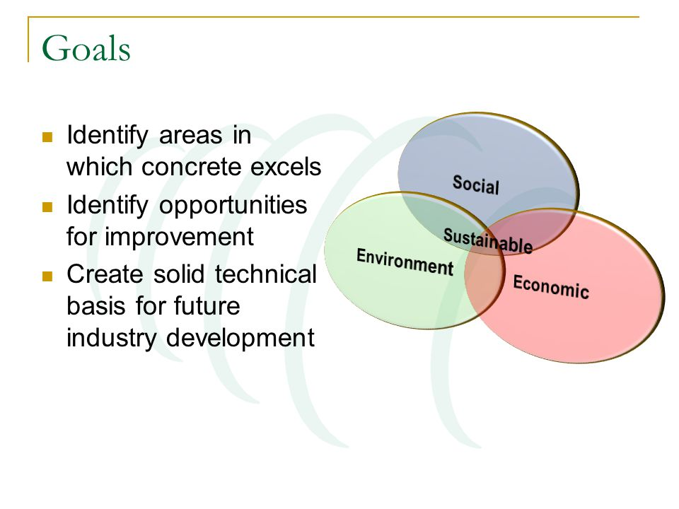 Goals Identify areas in which concrete excels Identify opportunities for improvement Create solid technical basis for future industry development
