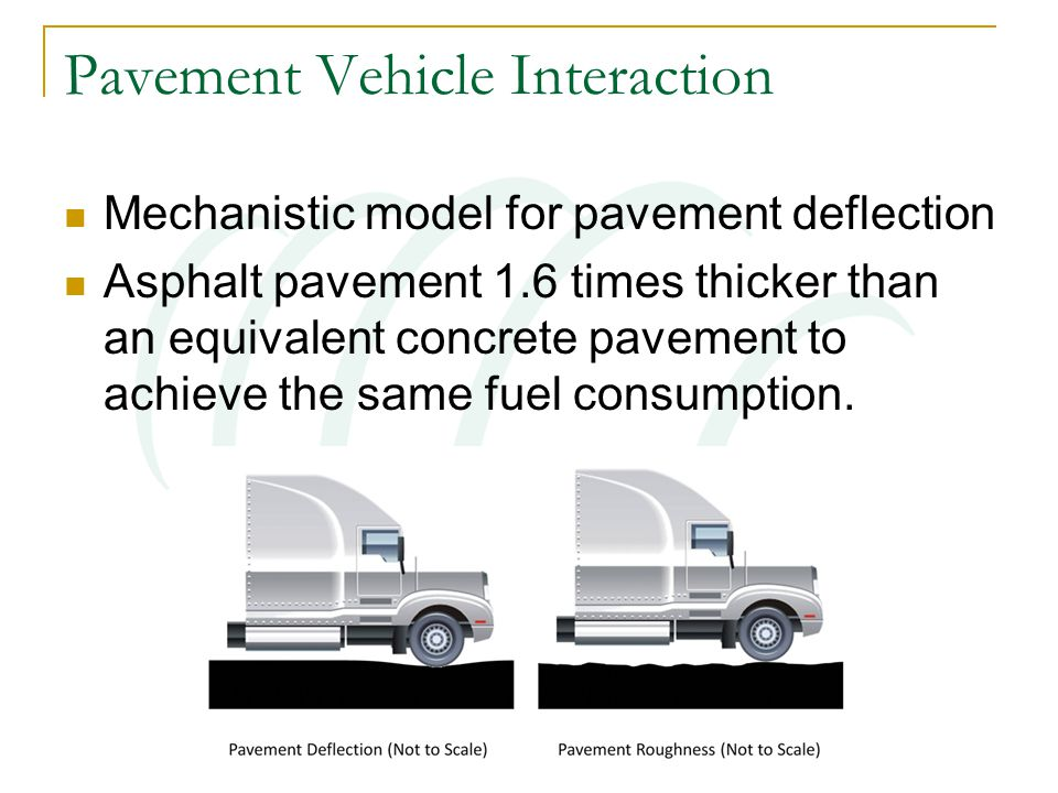 Pavement Vehicle Interaction Mechanistic model for pavement deflection Asphalt pavement 1.6 times thicker than an equivalent concrete pavement to achieve the same fuel consumption.