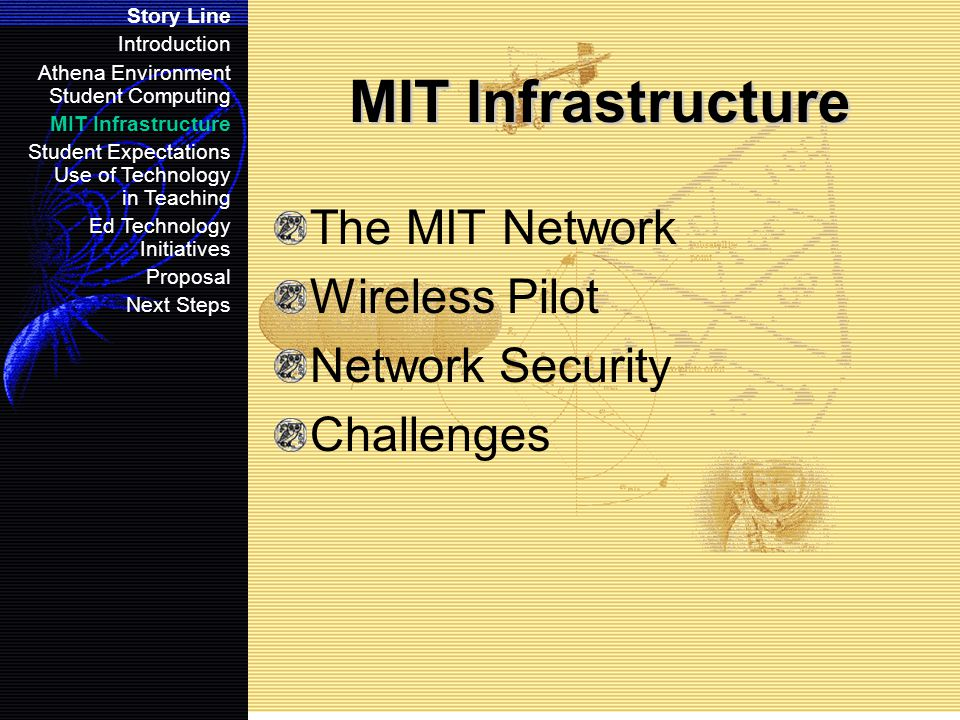 MIT Infrastructure The MIT Network Wireless Pilot Network Security Challenges Story Line Introduction Athena Environment Student Computing MIT Infrastructure Student Expectations Use of Technology in Teaching Ed Technology Initiatives Proposal Next Steps